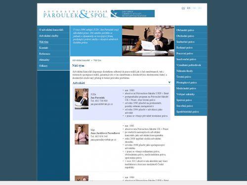 Internetové stránky - Advokátní kancelář Paroulek a spol.