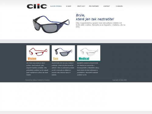 Internetové stránky - Click brýle (produktový web)