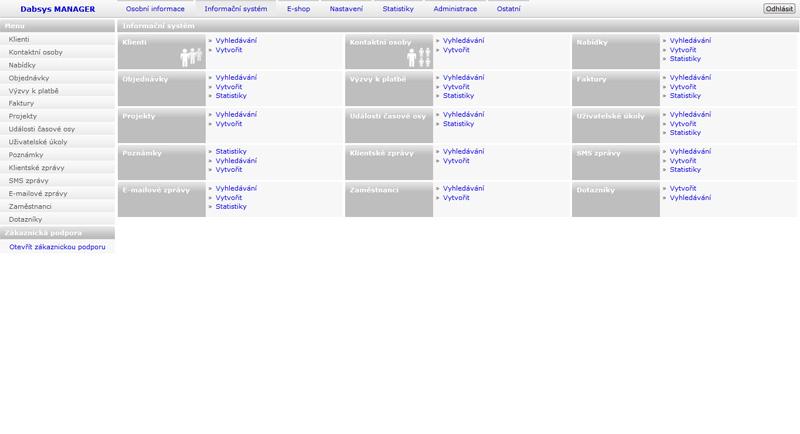 Dabsys CRM systém - Hlavní stránka CRM (ilustrační obrázek)