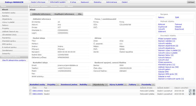 Dabsys CRM systém - Karta klienta - (ilustrační obrázek)