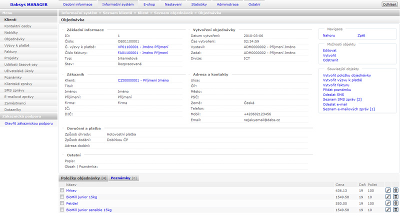 Dabsys CRM systém - Karta objednávky klienta - (ilustrační obrázek)