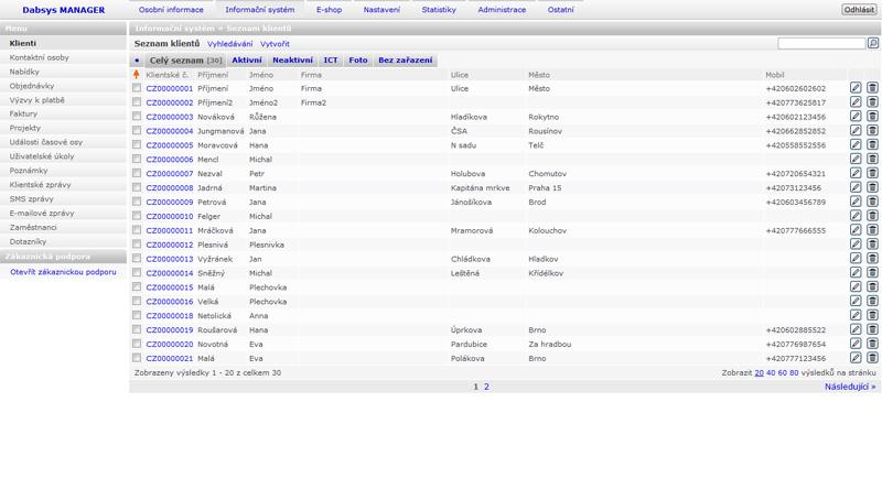 Dabsys CRM systém - Seznam klientů (ilustrační obrázek)